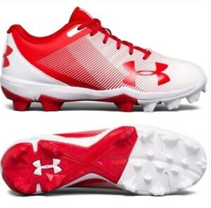 Boys Under armour baseball cleats red
