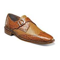 Stacy Adams Shoes Gianino Tan Crocodile Print Leather Monk Strap 25084-240
