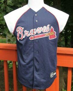Majestic-Medium-Atlanta-Braves-MLB-Sleeveless-Mesh-Button-Jersey-Men-039-s-Top-AV