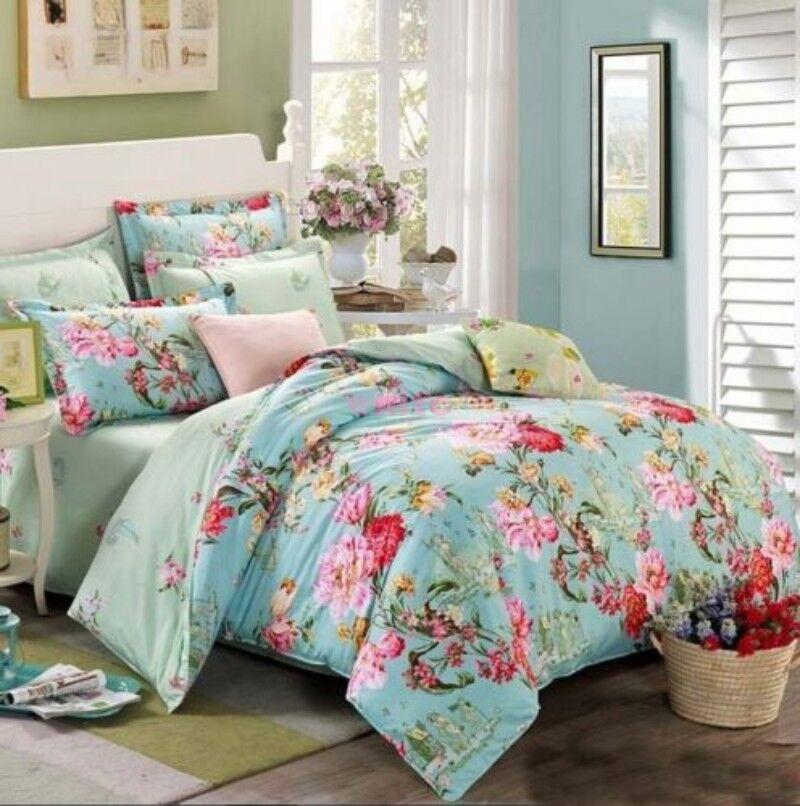 100% Cotton Flower Bedding Duvet Quilt Cover Set Full Queen King Size 4 Pcs Hot