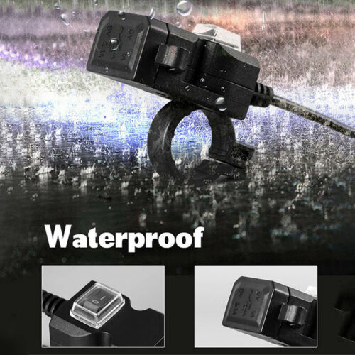 Waterproof Dual USB 12V Motorcycle Handlebar Charger Socket w Switch /& Mounts BI