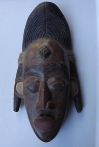 Details About Heavy Wooden African Tribal Mask Wall Decor Carved Wood