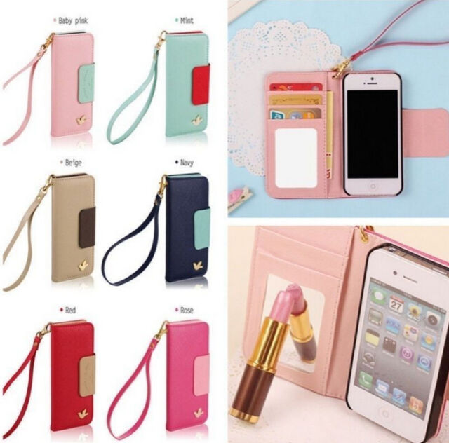 New PU leather phone case cover pouch flip for iPhone/Galaxy wallet card holder#