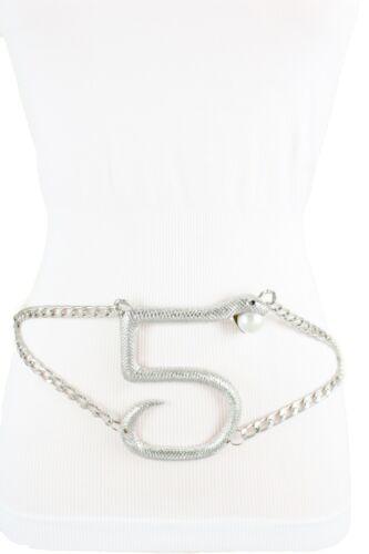 Hot Women Silver Metal Chain Elegant Belt Snake Bling Animal Charm Buckle XS S M