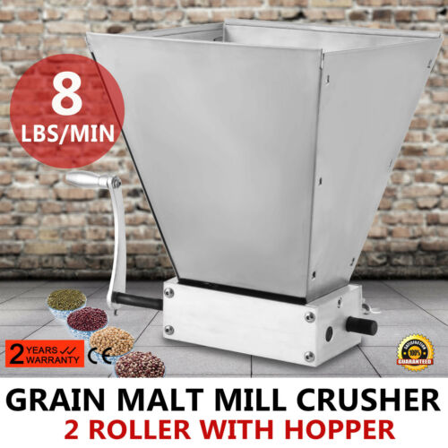 Grain Mill Barley Grinder Hold Up To 11LBS Malt Crusher 2 Roller With Hopper
