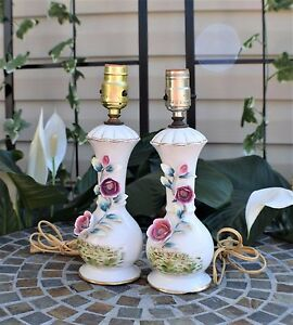 Vintage-White-Porcelain-Hand-Painted-Rose-Gold-Trim-Lamp-Set-Pair-12-034-x-3-1-4-034