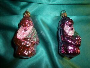alter-Christbaumschmuck-Glas-2-Weihnachtsmaenner-Nikolaus-Formkugeln-rosa-lila