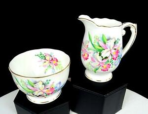 "ROSLYN CHINA ENGLAND PINK ORCHIDS GOLD TRIM 3 3/4"" CREAMER & SUGAR SET 1950-1963"