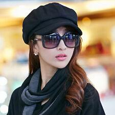 New Women Wool Peaked Cabbie Baker Cap Gatsby Newsboy Octagonal Beret Hat Black
