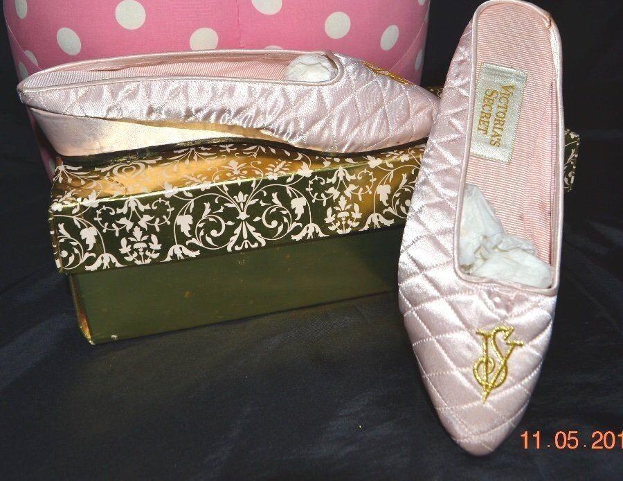 Victorias Secret Vintage Satin HOLLYWOOD GLAMOUR Mule Boudoir Slippers W BOX S 6