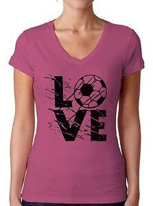 LOVE-Soccer-Women-039-s-V-neck-T-shirt-Tops-Team-Sports-Soccer-Gifts