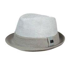 Sean John Men's Colorblocked Off White $45 Woven Straw Fedora hat l / xl