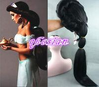 Anime Aladdin Jasmine Princess Long Black Classic Halloween Women Cosplay Wig