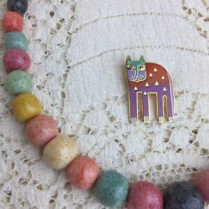 Vintage-Laurel-Burch-Cat-Pin-Necklace-Alexanders-Animal-Rainbow-Set-1980s-Signed