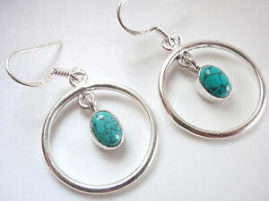 Blue-Turquoise-Oval-Hoop-Dangle-Earrings-925-Sterling-Silver-New