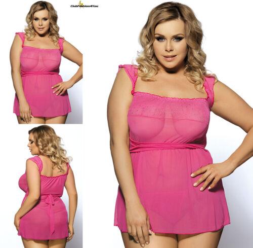 Plus Size LingerieMini Babydoll Dress with Narrow Pochettem-5xl r7001p
