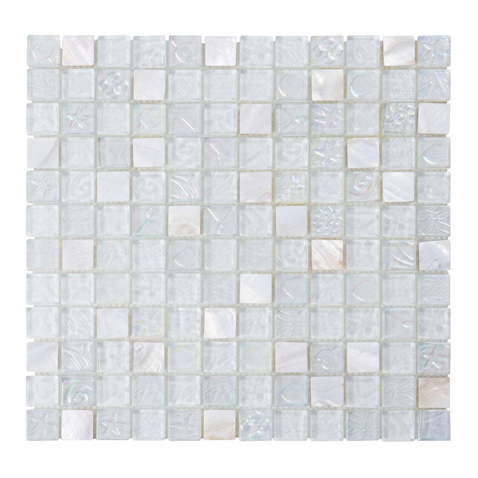 - Sample- Natural White Iridescent Mosaic Tile Kitchen Backsplash