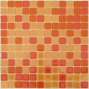 Image Is Loading Orange And Red Mix Gl Mosaic Tile For