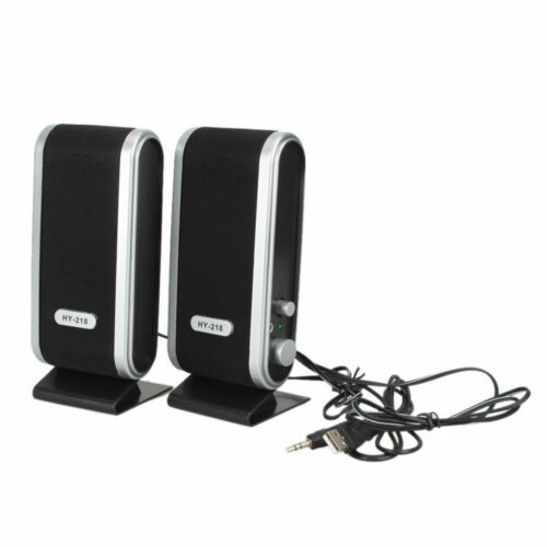 Portable Wired USB Power Computer Speakers Stereo 3.5mm Jack for PC Laptop Black