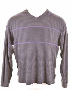 NAUTICA-Mens-V-Neck-Jumper-Sweater-XL-Multi-Striped-Cotton-CR10
