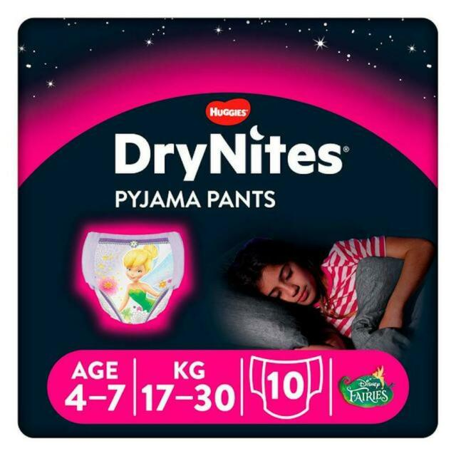 Huggies DryNites Pyjama Pants Girls Age 4-7 ,1x Pack of 10 Pants