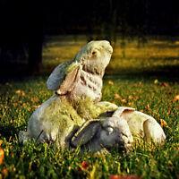Handcrafted Bunnies At Play Durable Fiber Stone Rabbit Garden Statue