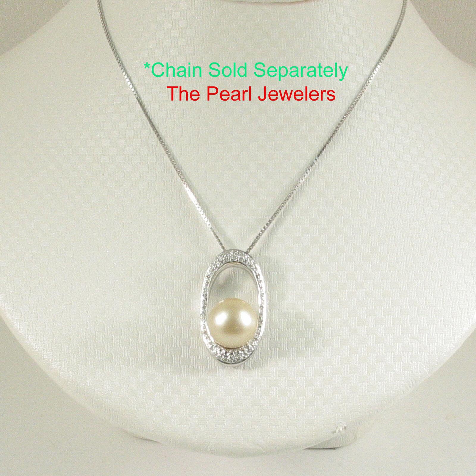 10.6mm Natural Khaki Tahitian Pearl Pendant; 14k White gold 51 Diamonds TPJ