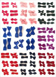 Pair-of-Girls-Kids-Small-Hair-Bow-Clips-Slides-Gripes-School-Uniform-Colours