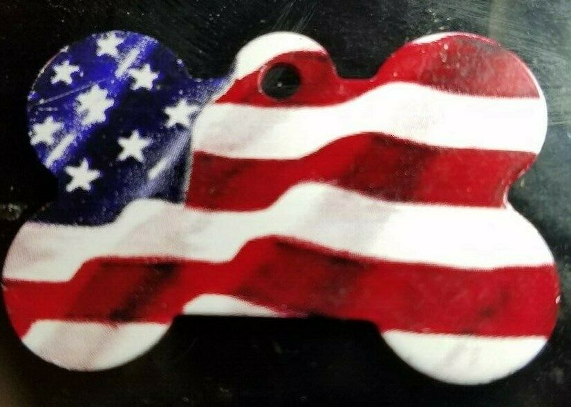 negozi al dettaglio Pet id tags USA USA USA Flag Cat and Dog ID Tags Bone Shape DOUBLE SIDED  (25 PC)1.5 X1   negozio online