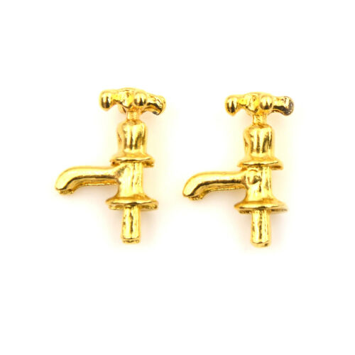 2x 1:12 Dollhouse DIY Cabin Miniature Model Material Accessories Metal`Faucet BH