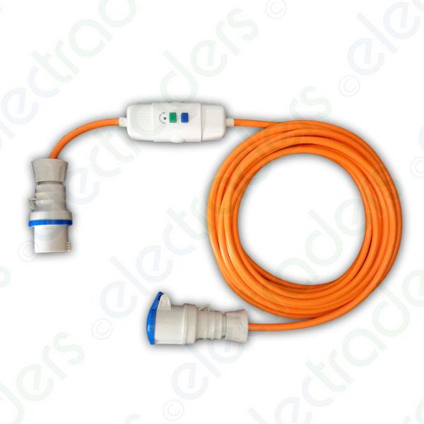 25m orange Caravan Hook Up   Extension lead 2.5mm 16A Plug, RCD & 16A Coupler