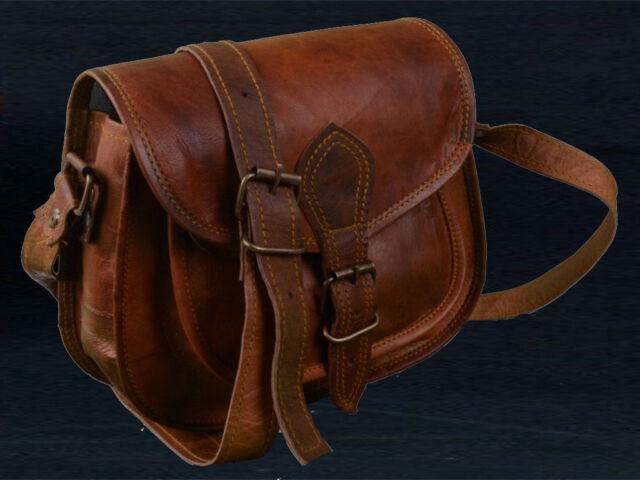 436527a87206 Women Vintage Handmade Brown Leather Messenger Shoulder Hippie Bag Purse 5  Pcs