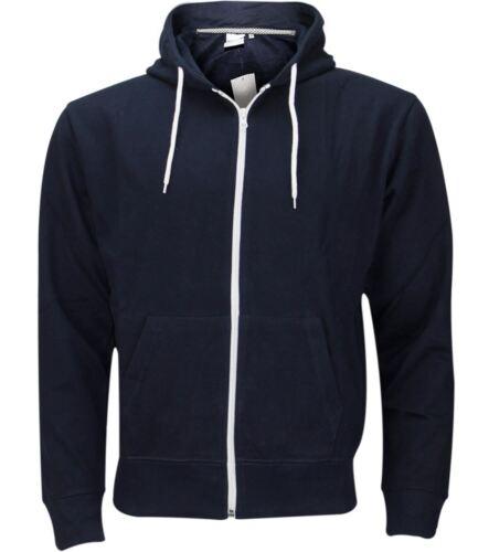 Mens Plain Zip Up American Fleece Hoody Jacket Sweatshirt Hooded Zipper S-5XL