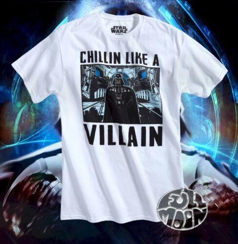New Star Wars Mens Darth Vader White Chillin Like A Villain  T-Shirt