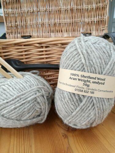 50g British Pure Shetland 100/% Aran Wool Natural undyed grey multi yarn knitting