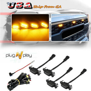 4X Smoked Lens Front Grille Lighting Kit For 16-up Toyota Tacoma w/TRD Pro Grill