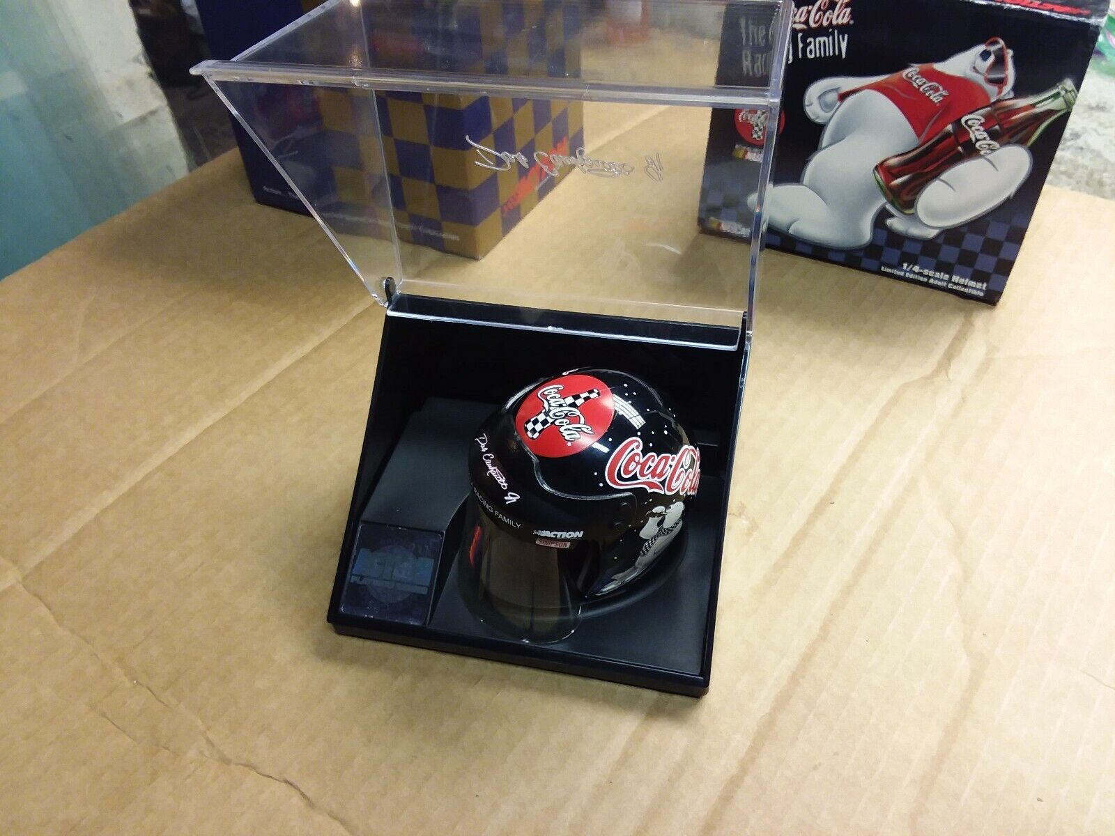 DALE EARNHARDT JR. 1 4 SCALE COCA-COLA NASCAR RACING HELMET IN DISPLAY CASE