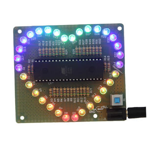 New-DIY-Kit-Heart-shaped-LED-Red-Blue-Colorful-Light-Water-Electronic-MAA