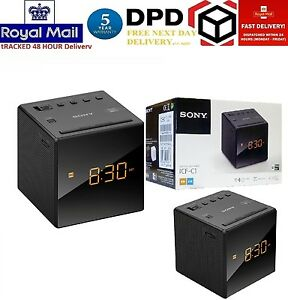 Sony-FM-AM-Moderno-Piccolo-Cubo-Radiosveglia-con-allarme-e-snooze-Nero-Nuovo