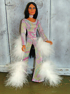 """/""""La Plume Rouge/"""" Red Handmade Custom Outfit MEGO CHER DOLL 70/'s Diana Farrah"""