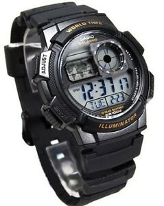Casio-AE-1000W-1A-Resin-Digital-World-Time-Men-039-s-100M-Sports-Alarm-Watch-AE1000W