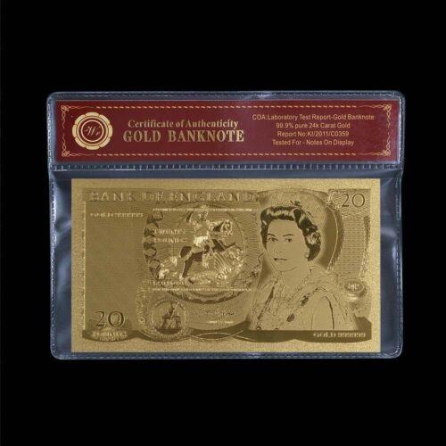 WR 1970-93 Old British £20 Twenty Pound Note 24K Gold Foil Banknotes /w COA Case