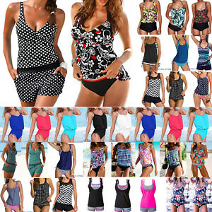 Women-Push-Up-Padded-Tankini-Bikini-Set-Bathing-Suit-Swimsuit-Beachwear-Swimwear