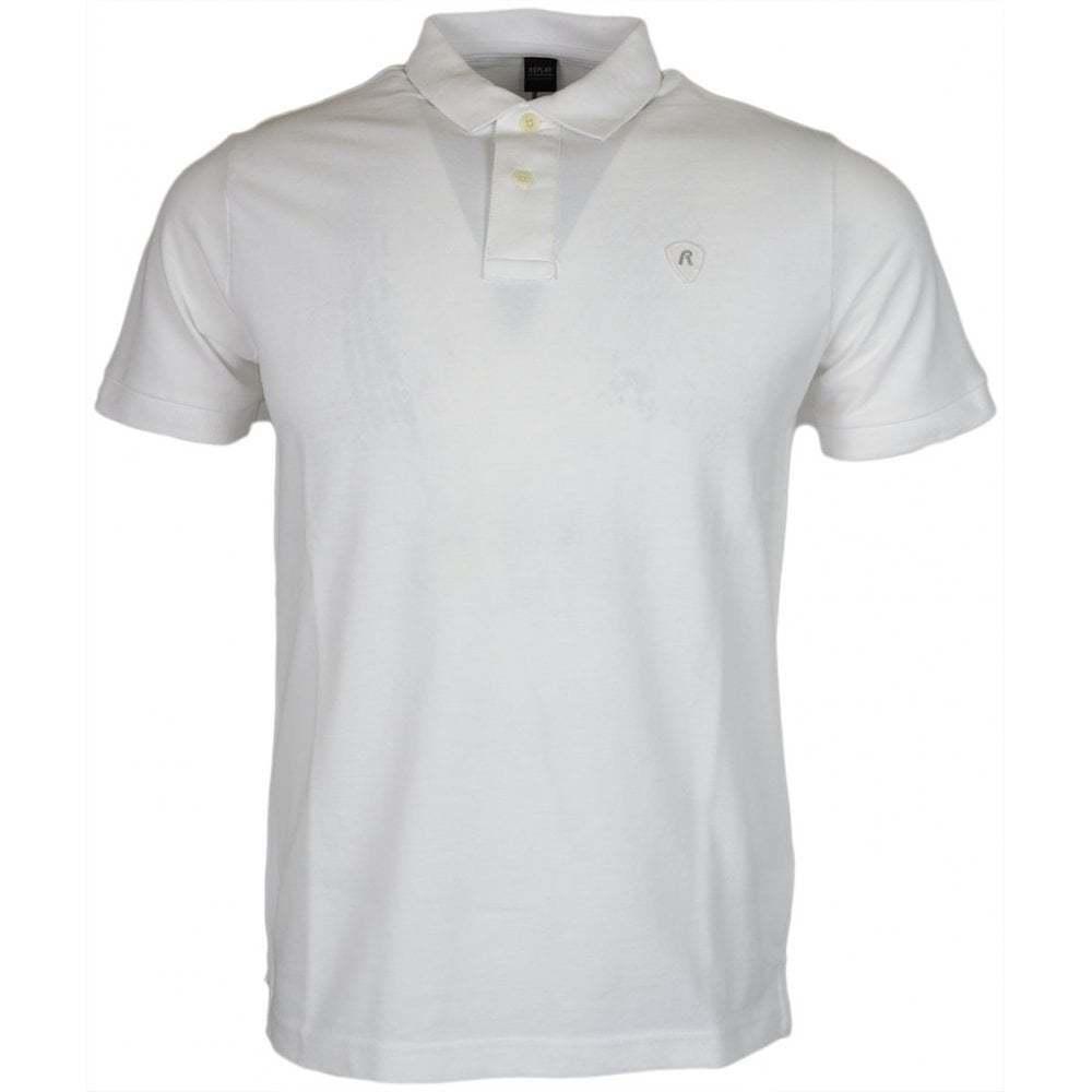 Replay Cotton Stiched Logo White Polo
