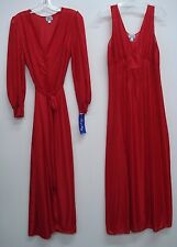USA Made Nancy King Lingerie Long Peignoir Set Gown & Robe Small Red #765Q