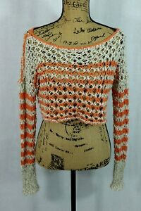 Free-People-Size-Small-Open-Knit-Cropped-Sweater-Long-Sleeve-Orange-Stripe-Top