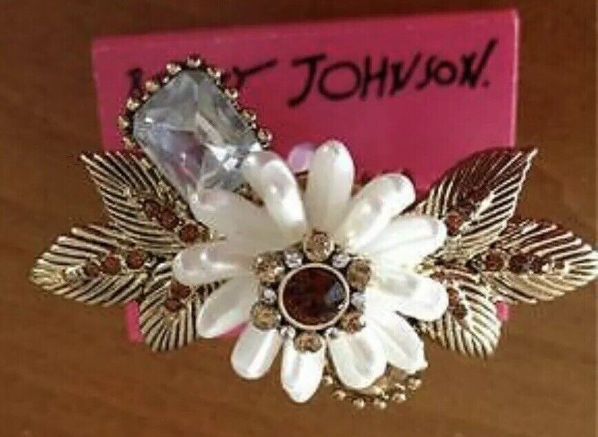 Betsey Johnson TOPAZ ICONIC AUTUMN FLOWER-LEAF DOUBLE Finger Ring Flower NWT