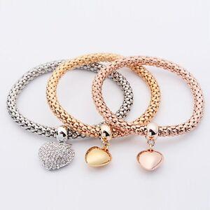 Fashion-femmes-3Pcs-or-argent-Rose-Gold-Bracelets-Set-Bijoux-Bracelet-en-strass