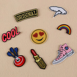 8pcs Embroidered Sew Iron on Patches Badge Bag Fabric Applique Clothes Craft