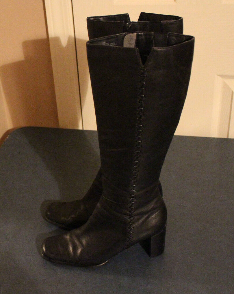 Worthington Black Leather Tall dress Boots with 2 3 4  heel Womens size 7.5M